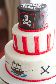 Tiered Pirate-themed cake